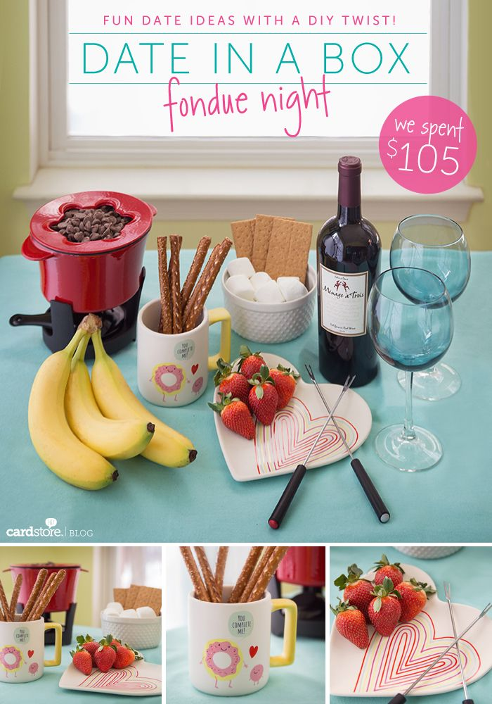 Fondue Night Date in a Box! Everything you need for a romantic night in, all packaged up in one little box :)