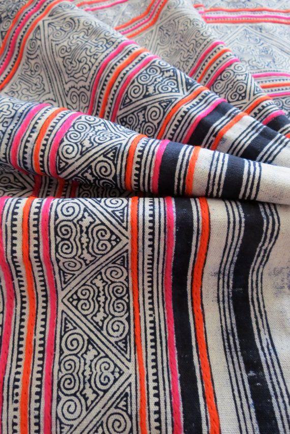 Handwoven Hmong cotton, Vintage fabric