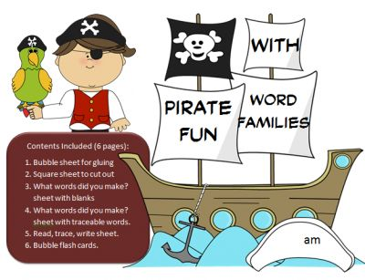 Pirate Word Family Fun -Word Family Activity/Project Set-61 word families practice! Over 350 pages of engaging word work. from SpellingPackets com on TeachersNotebook.com - (350 pages) - Pirate Word Family Fun -Word Family Activity/Project Set-61 word families practice! Over 350 pages of engaging word work. Contents Included (6 pages per set - 61 sets so far!): 1. Pirate sheet for gluing 2. Square sheet to cut out 3. What words did you m