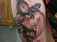 Vintage Roses Clock Tattoo Thigh on Pinterest | Thigh Tattoos Castles ...