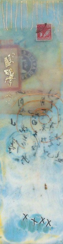 J u l i e S n i d l e this is encaustic- think about using some ephemera from France with this for jewelry