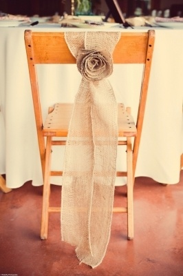Rustic Burlap Chair Sashes. Possibly make them to cover the back row of my plain ceremony chairs?