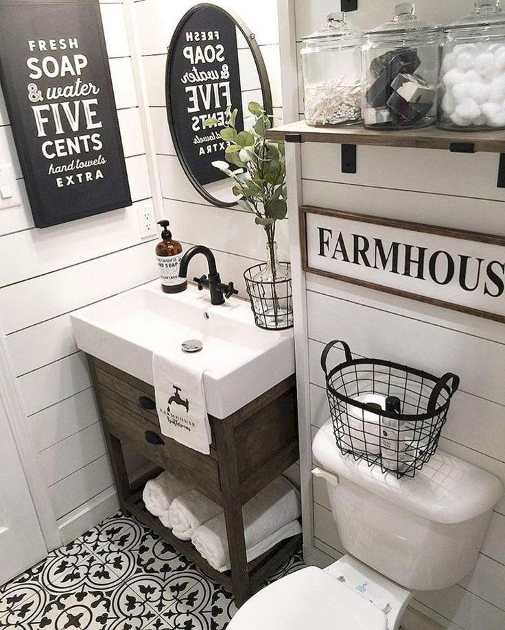 110 spectacular farmhouse bathroom decor ideas (21)