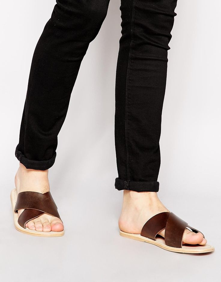 ASOS Sandals in Leather With Cross Over Strap - Brown
