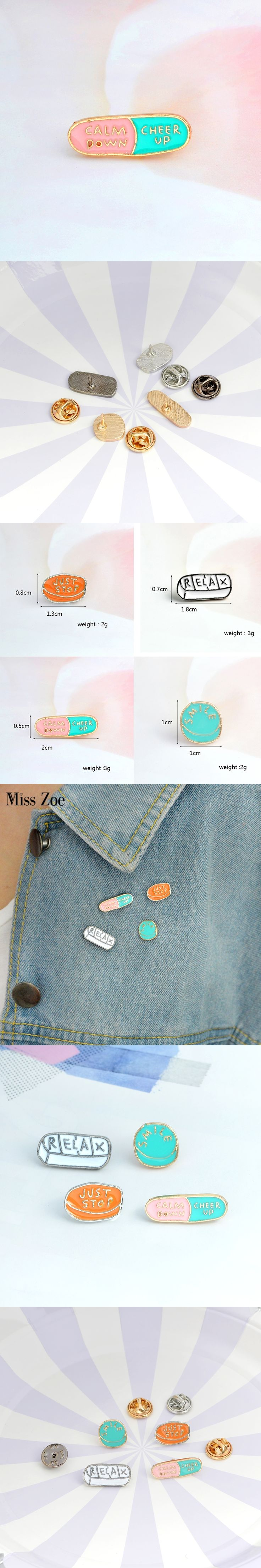4pcs/set Cartoon Honest Meds pins RELAX JUST STOP SMILE CALM DOWN CHEER UP Brooch Button Pin Denim Jacket Pin Badge Jewelry Gift