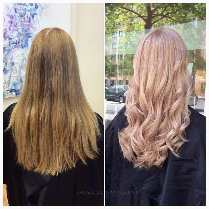 Härligt blond med en touch av rosé! Härligt när man kan ta ut svängarna en liten bit men ändå behålla en naturlig känsla #rosehair #olaplex #kerastase
