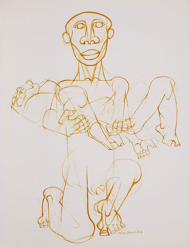 Dumile Feni. UNTITLED SACRIFICE) 1985. Pen and ink on paper, 61 x 48cm
