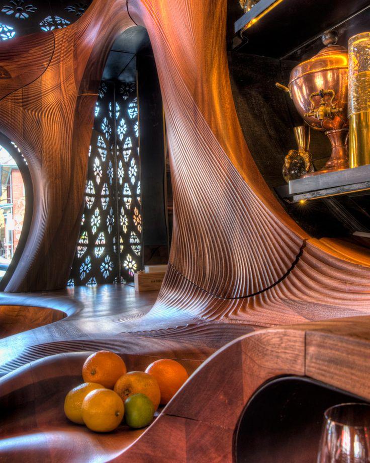 CNC milled Mahogany  //  Spanish bar, gaudi style, in Toronto  //  partisans grant van gameren bar raval toronto canada