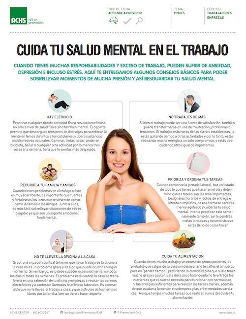 #Infografía Cuidados de Salud Mental en el Trabajo || http://www.achs.cl/portal/trabajadores/Capacitacion/central-de-fichas/Documents/cuida-tu-salud-mental-en-el-trabajo.pdf