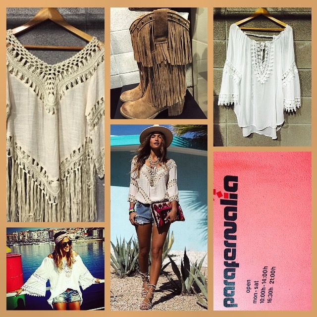 Look perfecto para verano: blusón ibicenco blanco, blusón en crudo de #Coachella y botas de flecos #Nemonic. #Parafernalia #Oviedo #Gijón #outfit