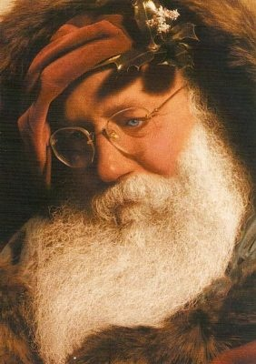 "this portrait of a ""pensive"" Santa is my all time favorite Christmas card....."