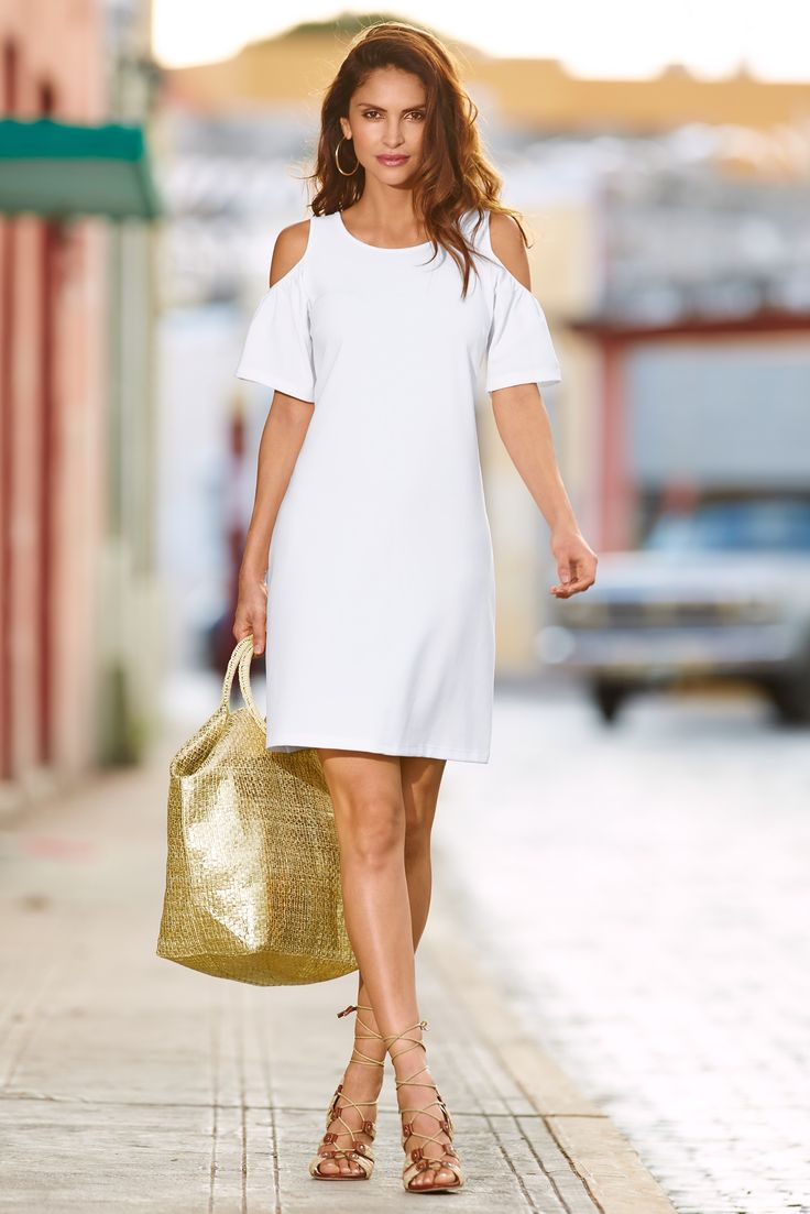 Little White Dress | Women's White Travel Flutter Cold-Shoulder Dress by Boston Proper.