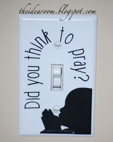 Lightswitch Covers-Did you think to pray? This is so cute! Ry would LOVE this! :)