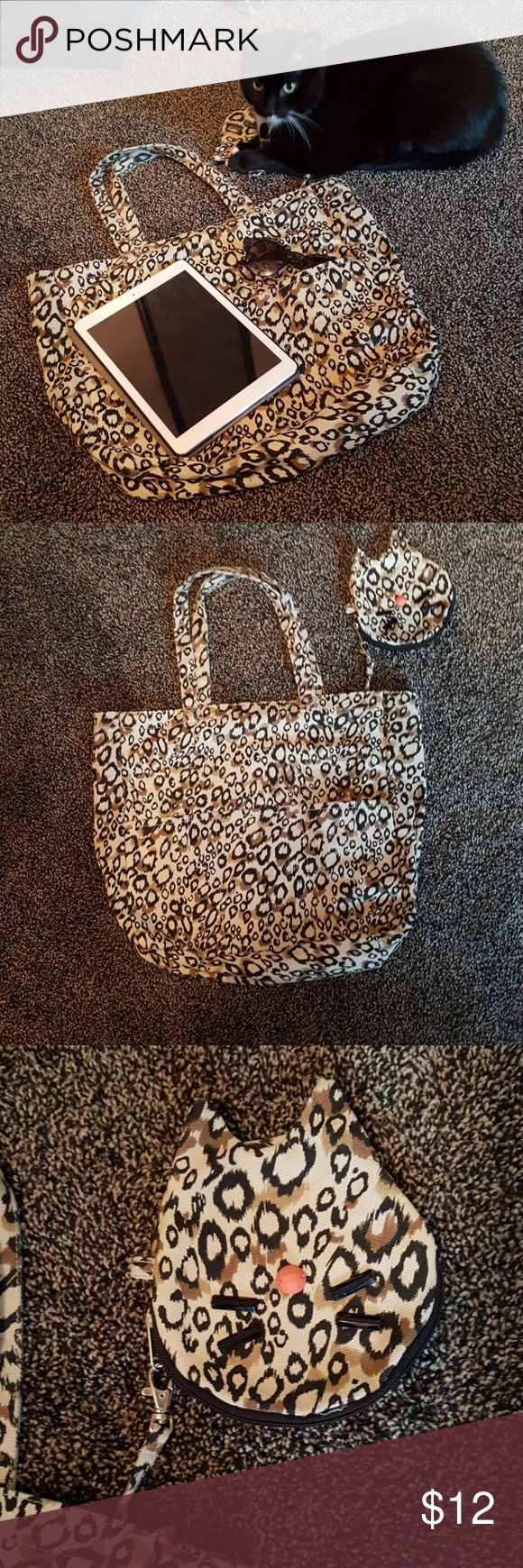 Animal print tote Canvas tote bag with 3 outside pockets and detachable coin purse. Gently used. *cute cat not included 🐱 Bags Totes