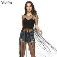Женщины сексуальные прозрачные черные сетки плиссированные dress коротким рукавом о шеи vestidos женский модный бренд плиссированные платья QZ2699
