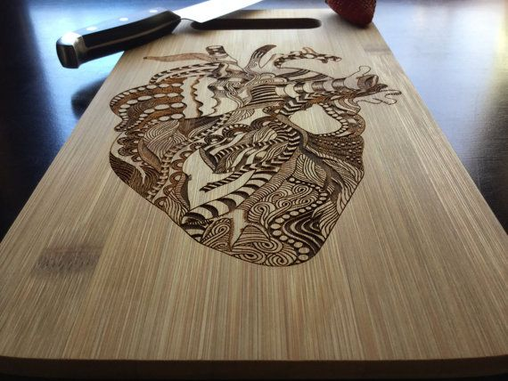 Presenting our personalized, laser engraved bamboo cutting board. This type of cutting board is great for gifting at weddings, anniversaries, and