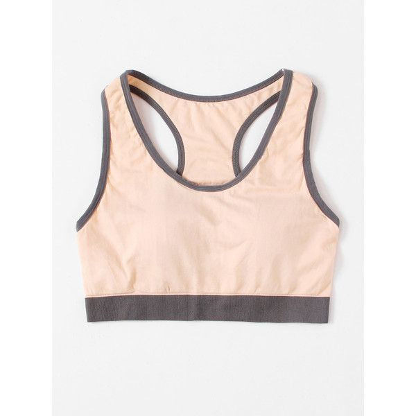 SheIn(sheinside) Contrast Trim Cut Out Sports Bra ($11) ❤ liked on Polyvore featuring activewear, sports bras, nude, cut out sports bra, sports bra, pink sports bra and pink sportswear
