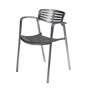 Pensi Collection Toledo chair by Knoll.    Metallic stacking chairs that take up a relatively small amount of space.