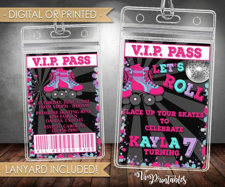 Roller Skating Birthday Invitation, VIP Roller Skating Invitation, Skating Rink, Neon, Pink Purple, Lanyard, Digital or Printed, #108 by VipPrintables on Etsy