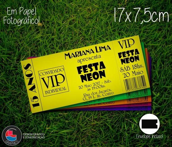 Convite Festa Neon Várias Cores C/ Envelope