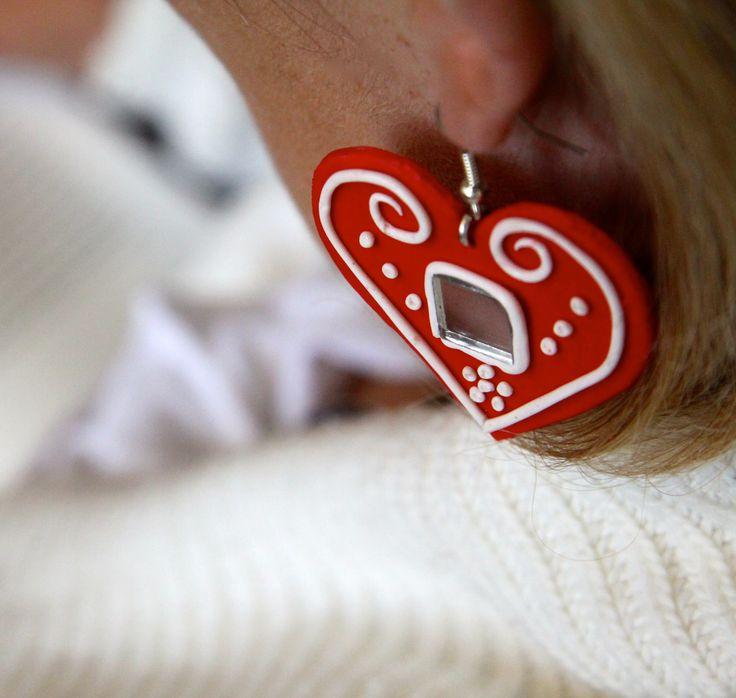 Gingerbread heart earrings