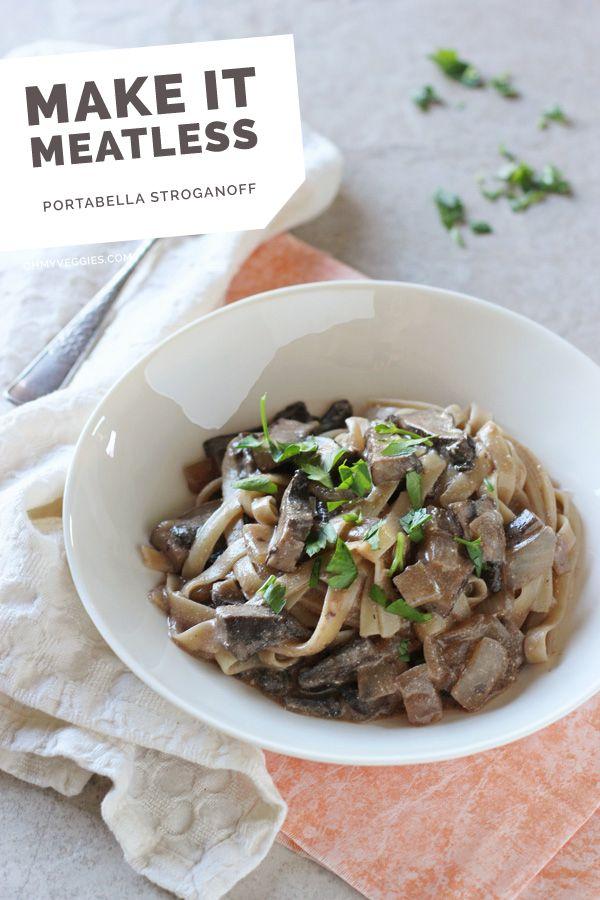 Portabella Stroganoff #MeatlessMonday #vegetarian #pasta #mushrooms