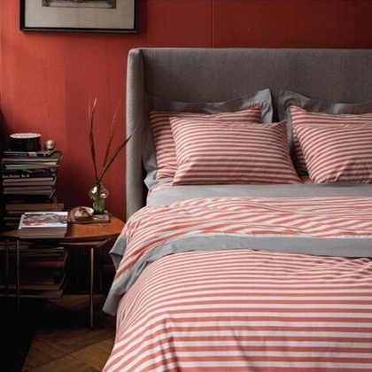 Grey and red bedroom inspiration.: Bedding, Duvet Sets, Stripe Poppy, Poppies, Stripes, Dwellstudio, Bedroom