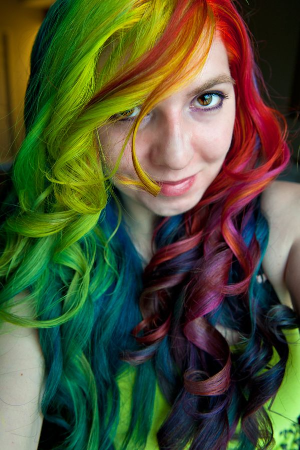 rainbow hair: Hair Ideas, Style, Colorful Hair, Rainbow Hair, Makeup, Hairs, Rainbows, Rainbow Curls, Hair Color