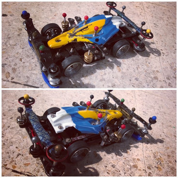 MS chassis using polycarbonate aero Avante body, uni-body / body-damper setup