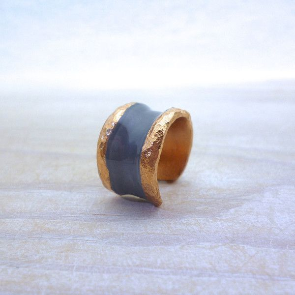 Black Ring Band, Black Rose Gold Ring, Black Ring Women, Chevalier Ring, Enamel Ring, Hammered Ring, Christmas Gift for Women, Her Birthday featuring polyvore women's fashion jewelry rings
