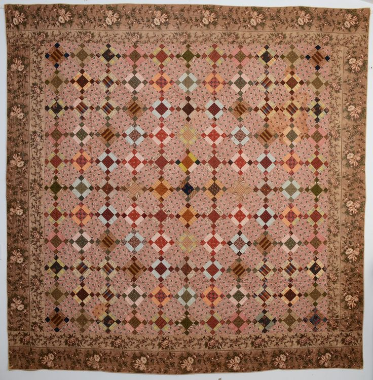 "Puss in the Corner Quilt:  Stunning array of fabrics from the second quarter of the 19th century; Circa 1850; Pa., 102"" x 104"""
