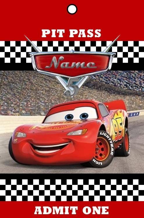 Disney Pixar Cars Pit Pass Birthday Invitation