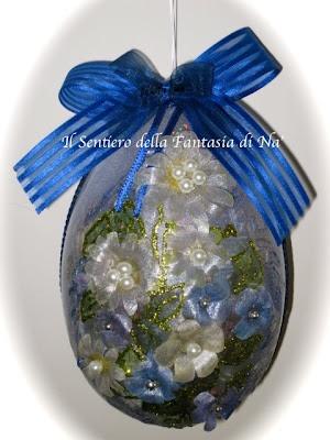 Easter home decor handmade egg /  Uova di Pasqua {decoglass volume, il decoupage, il glitter rilievo e il sospeso trasparente}