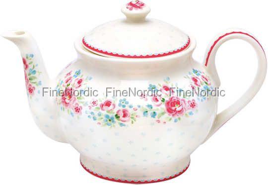 GreenGate Tekanna Stoneware Teapot Round Tess White