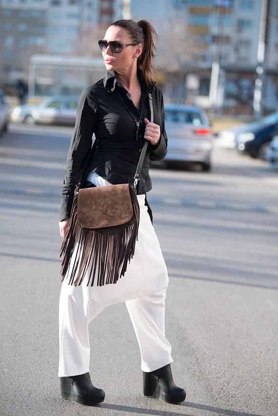 Dark Brown Fringe Women bag Leather Bag Cross Shoulder Bag