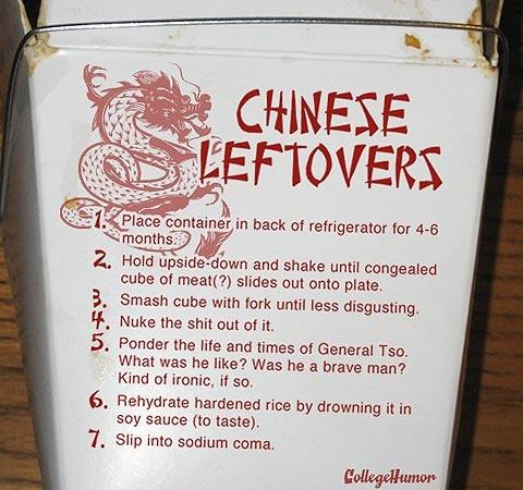 afd: Chine Food, Honest Food, Random Humor, Foodprep, Food Prep, Twists Humor, Chine Leftover, Weights Loss, Funnies Billboard