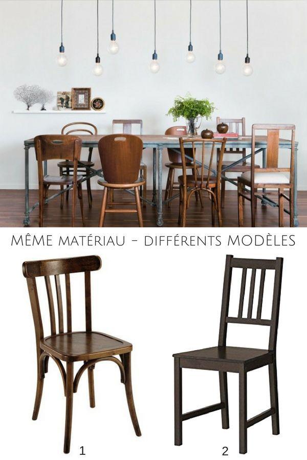 Même matériau mais modèles différents - une idée à retenir pour les chaises dépareillées !  http://www.homelisty.com/chaises-depareillees/
