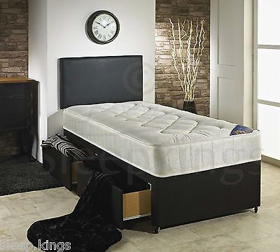 3ft Single Divan Bed Black With Quilted Mattress Storage For S And