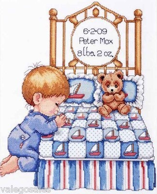 Tobin Counted #crossstitch Bedtime Prayer Boy Birth Record ♥ #nursery #baby #kidsroom #moms #gift #decor #handcraft #handmade #DIY #project #needlework #stitching #personalize
