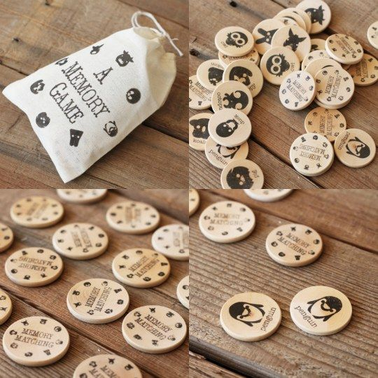 Make a memory game w/ wooden chips.. this would be fun! ..reminds me of old fashion board games which I love!