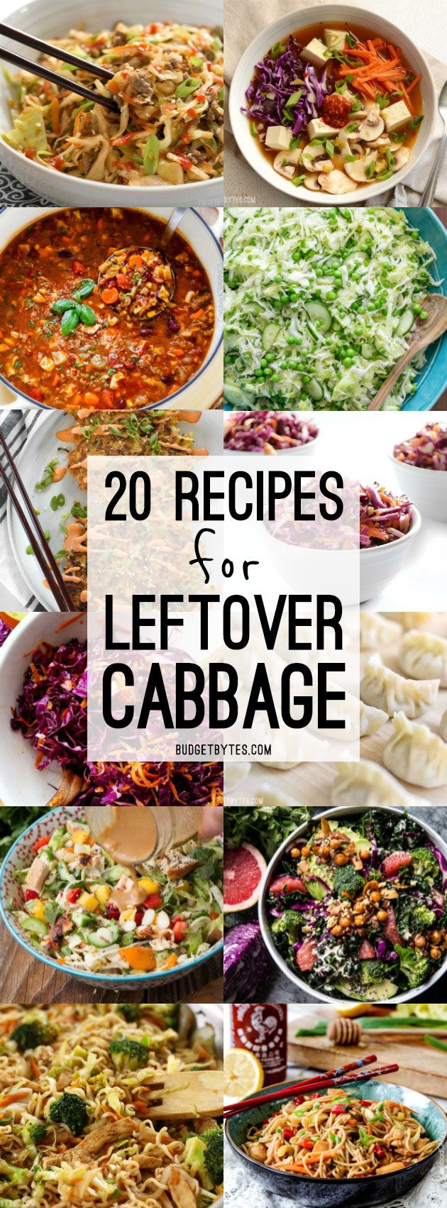 Cabbage is healthy, inexpensive, and can be use a million different ways! Here are 20 delicious ways to use your leftover cabbage so it never goes to waste. @budgetbytes