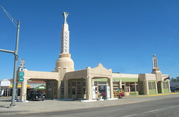 Conoco gas station in Shamrock, Texas