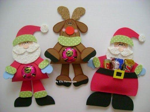 Moldes de souvenirs porta dulces de Navidad Papa Noel y reno en goma eva.…