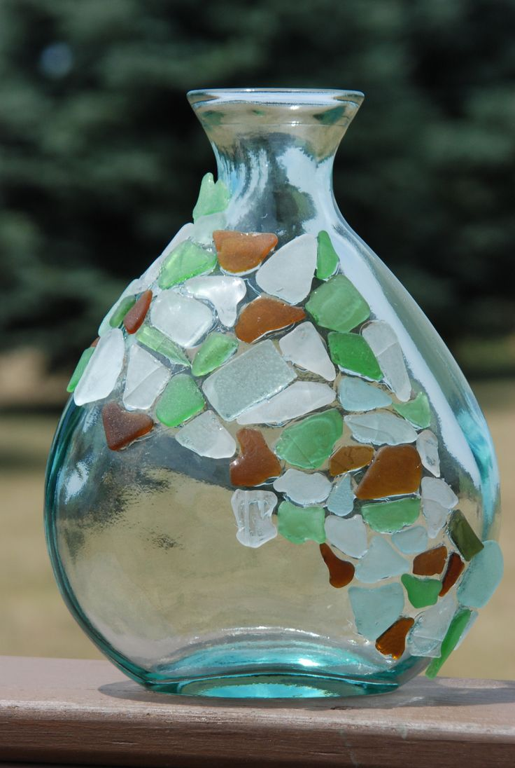 Beach glass bottle.....this would look really cute for a vase for flowers!!!