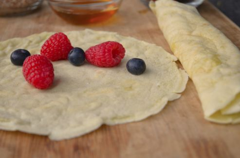 Nutritional information is calculated using 1 tablespoon almond butter and 1/4 cup blueberries per crepe.