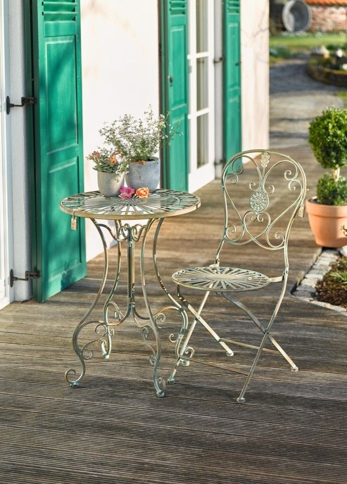 Folding Metal Bistro Chair With Scrolling Heart And Peacock Tail