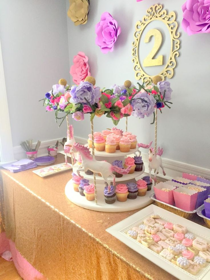 Laila S Floral Carousel Birthday Party In 2019 Children