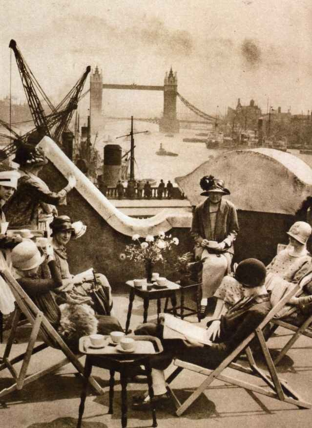 The roof garden of the Langbourne Club for City Women on Fishmonger Hall Street, a social club for women who worked in the City  opened on 7 July 1925.
