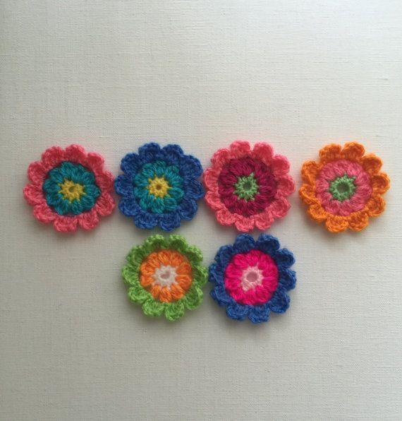 Crochet flowers crochet appliqués flower appliqués by JilaCrochet