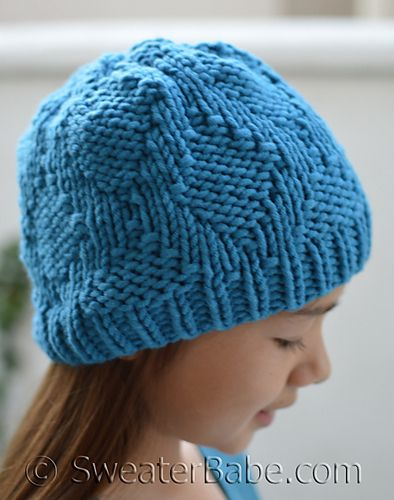 Easy Lattice Hat to knit for Kids. Less than 100 yards needed!